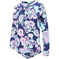 Moon Tree Girls Rash Guard One Piece Swimsuits Long Sleeve Bathing Suit