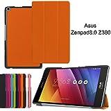 Asng ASUS ZenPad 8.0 Z380KL / Z380C / Z380M / Z380KNL ケース 三つ折りスタンドカバー 超薄型 超軽量 マグネット オートスリープケース PU レザーカバー (オレンジ)