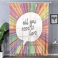 装飾 レースカーテン UVカットミラーレースカーテン 幅150cmx丈198cm 2枚入り カラフルなインテリア、あなたが必要なのは愛の心に強く訴える引用音声バブルヒッピーレトロポスター印刷、ホワイト
