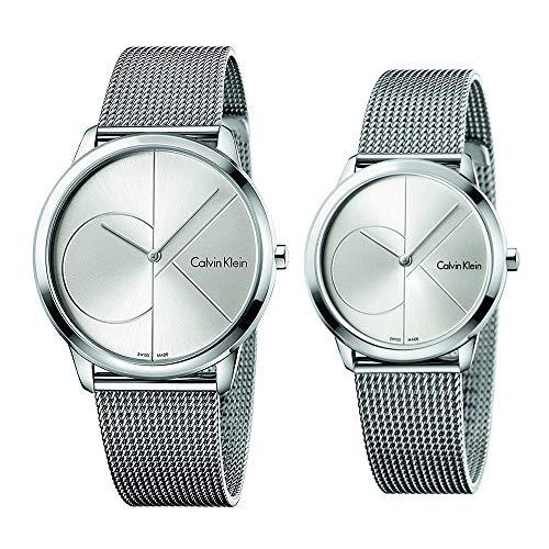 [カルバンクライン]Calvin Klein CK 収納BOX付 ペアウォッチ メンズ レディース ユニセックス 男女兼用 MINIMAL ミニマル 2針 40mm/35mm シルバー メッシュ ステンレス K3M2112ZK3M2212Z 腕時計 [並行輸入品]