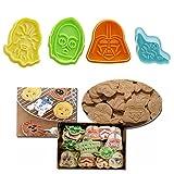 1セットのランダムな色!スター・ウォーズの新着4本/セットキャラクタープランジャフォンダンケーキカッタークッキーモールドペストリー飾るツール