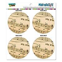 音楽音楽al シートノートビンテージト音記号 MAG-格好いい'S(TM)カー/冷蔵庫マグネットセット