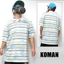 KOMAN【コーマン】 S/S ポロシャツ ■ホワイト XL  B系 B系ファッション ストリート系