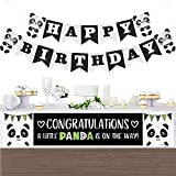 LULAA 誕生日 飾り付けセット 豪華14点 パンダ型 HAPPY BIRTHDAYガーランド 風船 バルーン ケーキ挿入カード 誕生日 パーティー 記念撮影 インテリア 女の子 男の子 可愛い