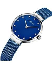 GEMAX 腕時計 ファッション レディース 女性 メッシュ ステンレス鋼 クォーツ アナログ ブルー 文字盤 8155W-CP-DL