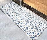 Baibu Home 45×120 キッチンマット 北欧 おしゃれ 幾何学柄 はっ水 台所 マット 抗菌 防汚 ポリ塩化ビニール素材 拭ける 洗濯いらず お手入れ簡単