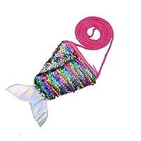 FORLADY子供のメッセンジャーバッグスクエアスモールウォレットスパンコールバッグコインケースストラップコインバッグスモールウォレットフィッシュテール、ワンサイズ、フィッシュテール5色