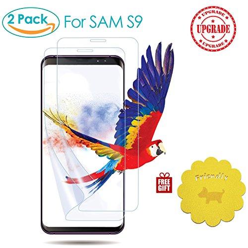 KUNKANI Samsung Galaxy S9 液晶保護フィルム 【コースター(3色)付き】保護シート 自動吸着 指紋防止 全面保護 超薄型 2枚セット
