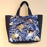 Jam's Ukulele IZY-229 / トートバッグ サブバッグ 布バッグ ミニバッグ ねこ柄 ブルー系 黒デニム ハンドメイド 手作り