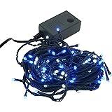 【ブルー&ホワイト】イルミネーション LED ライト クリスマスライト 屋外 屋内 100球 点灯パターン記憶メモリー付 連結可