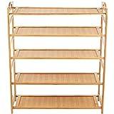 (ハンキ)Hankey シューズラック 板型 天然竹製 組み立て式 5段 幅68×奥26×高95cm PB05-1