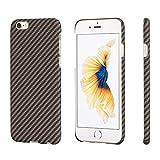 iPhone6 ケース 「PITAKA」 薄い アイフォン6カバー アイホン6ハードケース 軍用アラミド ファイバー素材 薄型 超軽量 擦り傷防止 黒 ガラスフィルム付き( 黒金 斜め柄)