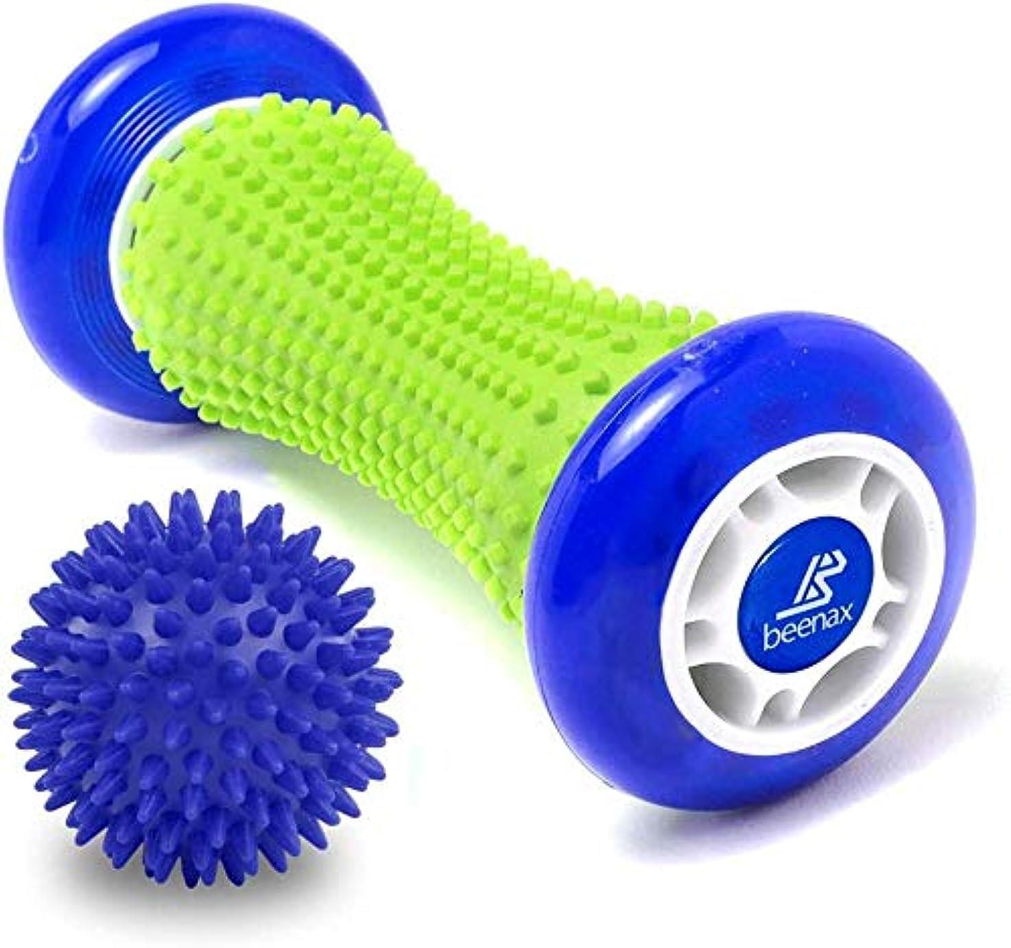 オリエントバーター小石フットマッサージローラーとハードスパイキーボールセット-ストレスを緩和し、タイトな筋肉をリラックスするように設計,Blue