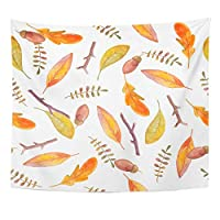MKLOS Wall Hanging Exotic Watercolor Natural Hand Autumn Leaves Stems and Acorns Forest Tablecloth Tapestry おしゃれ壁掛け タペストリー ファブリック装飾 50x60 Inches Wall Art Custom