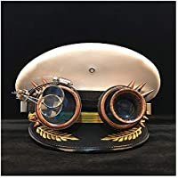 2020 Mens Womens Hats Steampunk Germany Officer Visor Cap Army Hat Gear Glasses Cortical Military Hat Police Cap Cosplay Halloween Hat Fashion Casual Soft Decoration (Color : White, Size : 56cm)
