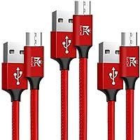【3本セット】RoiCiel Micro USBケーブル 2.4A急速充電 / 高速データ転送対応 7000+回の曲折テスト 高耐久レザー材質(皮革)ケーブル Android microusb対応 マイクロusbケーブルRC88MCTN-9RA (0.9M 3本セット, レッド)