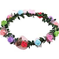 Rose Flower Wreath Headband Floral Crown Garland Halo for Wedding Flower (Multi-color)