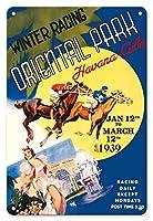 22cm x 30cmヴィンテージハワイアンティンサイン - ハバナ、キューバ - 冬競馬、オリエンタルパーク - そこに食事やレース後にグランカジノナシオナルで踊っされます - ビンテージな世界旅行のポスター c.1937