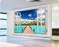 Yosot 写真の壁紙高品質の3D壁紙自然のビーチオーシャンビューウィンドウ青空の雲大きな壁の壁紙の壁紙-140cmx100cm