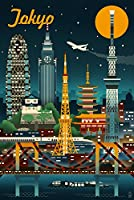 (16 x 24 Giclee Print) - Tokyo, Japan - Retro Skyline (16x24 Giclee Gallery Print, Wall Decor Travel Poster)