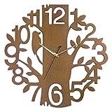 Hense Clocks(ハンセ)壁掛け 時計 ツリー ナチュラル 掛け時計 キツツキ 薄型 おしゃれ HW65