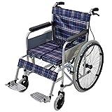 車椅子 ブルーチェック 折り畳み 自走介助兼用 介助ブレーキ付き ノーパンクタイヤ 自走用車椅子 自走式車椅子 折りたたみ コンパクト 自走用 介助用 自走式 自走 介助 車椅子 車イス 車いす wheelchairs09blc