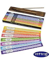 お香 アロマインセンス Nitiraj(ニティラジ)7種類の香りお試しセット お香たて付き スティック型 天然素材のみ使用 正規輸入代理店
