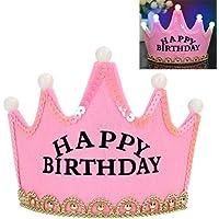 (アワンキー) Aoneky 誕生日 パーティー 王冠 ティアラ 飾り お祝い 演出 LED 子供用 可愛い (ピンク)