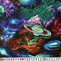 RK-3685 惑星、星雲 オールオーバー/ブラック コットンプリント生地