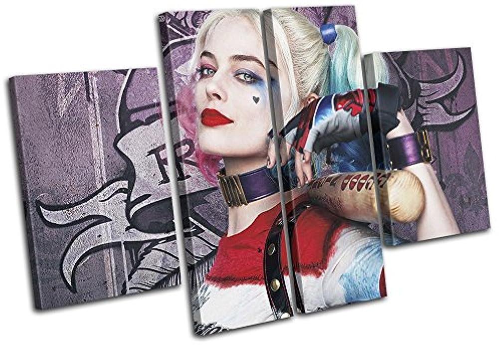 スリット欠点アセンブリ太字ブロックデザイン – Suicide Squad Harley Quinn Movie Greatsマルチキャンバスアートプリントボックスフレーム壁吊り下げ – Hand Made In The UK – Framed and ready to hang (D) 280x180cm 13-2392(00B)-MP17-LO-D