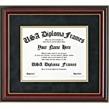 Glossy Cherry Mahogany with Gold Trim Diploma Frame (11x14 Documents)