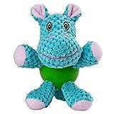 小さい犬のための咀嚼ゴムボールボディを持つEETOYS子犬丈夫なキーキー声豪華おもちゃ (Hippo)