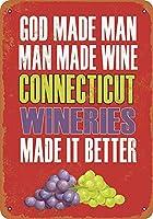 白い桜雑貨屋 おしゃれ 雑貨 通販 ブリキ Connecticut Wineries Make Better Wine レトロなスタイル アンティーク 看板 アメリカン ガレージ 壁の装飾装飾芸術 20x30cm