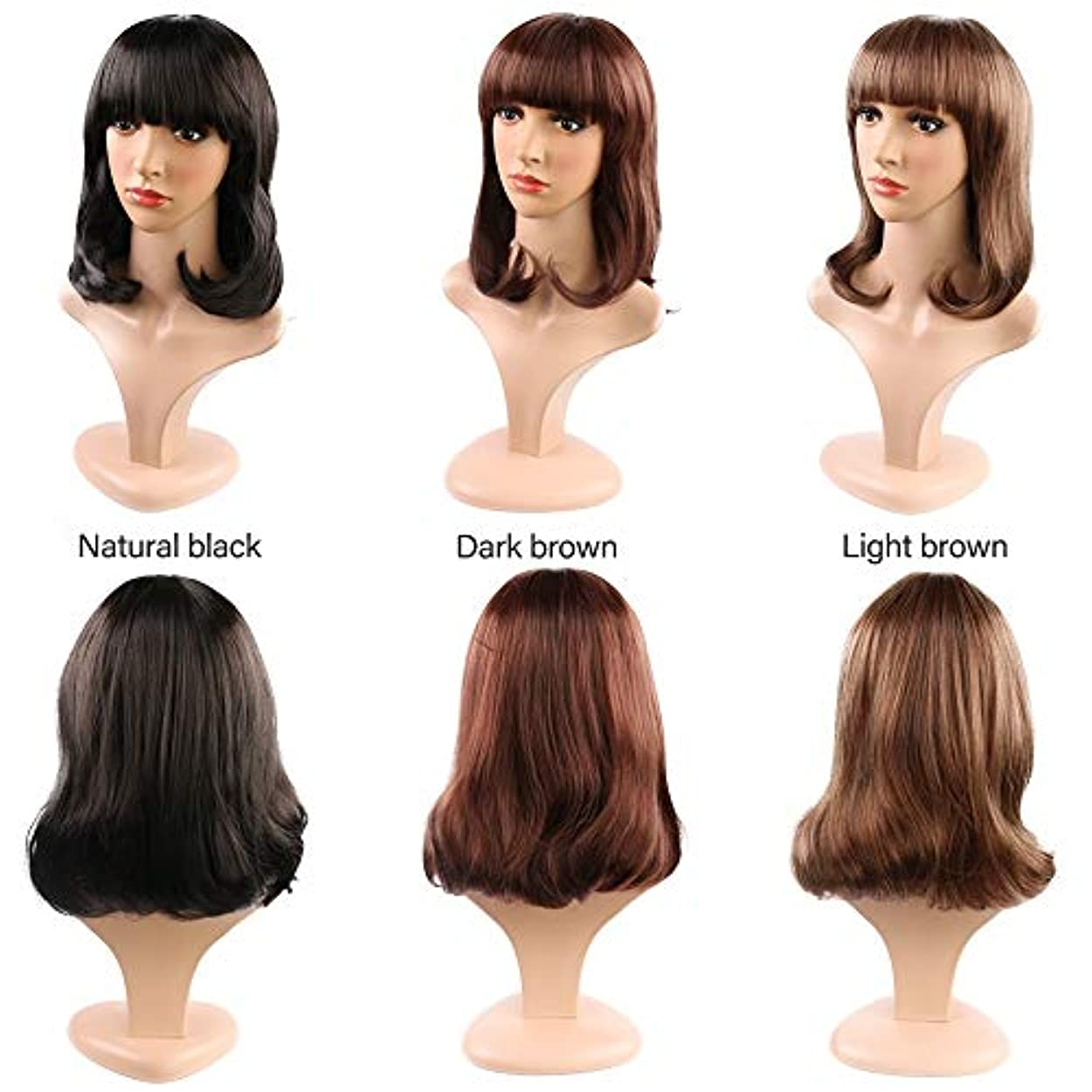 見る人小川料理をする女性のためのストレートフラット前髪ショートボブウィッグ合成かつら耐熱完全な頭部の髪の交換ウィッグミディアムの長さ (Color : Light Brown)