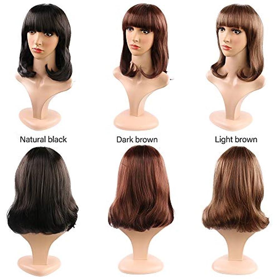 ブランク世界記録のギネスブック狂人女性のためのストレートフラット前髪ショートボブウィッグ合成かつら耐熱完全な頭部の髪の交換ウィッグミディアムの長さ (Color : Light Brown)