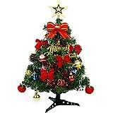 クリスマスツリーセット ミニ 45cm 60cm LEDイルミネーションライト 電飾付き オーナメント付き(LEDライト:ミックス色) (45cm)