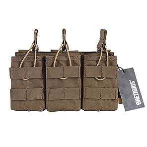 OneTigris トリプルマガジンポーチ 3連オープン M4/M16 AK AR  モール対応 チェストリグ取り付け可能 サバゲー (ブラウン)