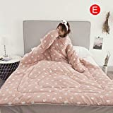 Goalftek Lazy Quilt, Warm Thick Comforter, Winter Duvet, Winter Warm Blanket, Lazy Quilt with Sleeves Blanket Cape Cloak Nap Blanket Dormitory Mantle 150x200cm