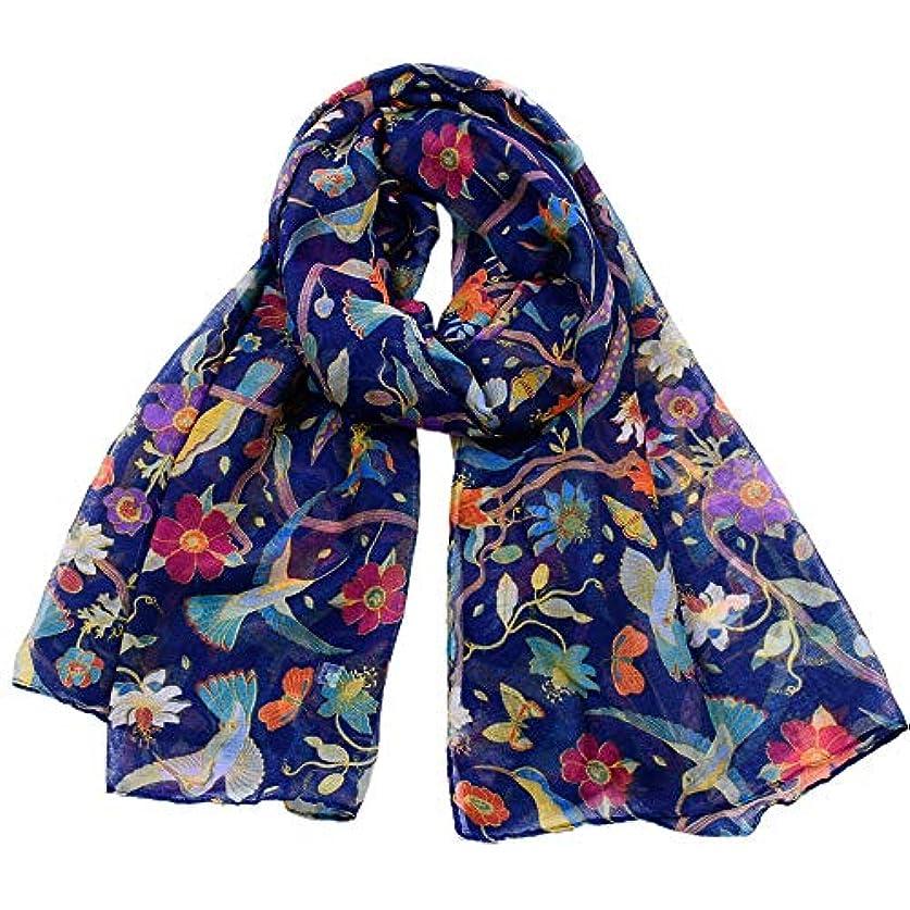 良心と歯痛Ruiyue 春、夏、秋ファッション動物シルクスカーフ、女性ハチドリ、サンフラワープリントスカーフ女性