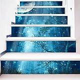 Yanqiao 18*100cm階段用の夜景のウォールステッカー 立体的で光煌かす カッコイイ欧米スタイル 高品質 おしゃれ 防水 防潮 月