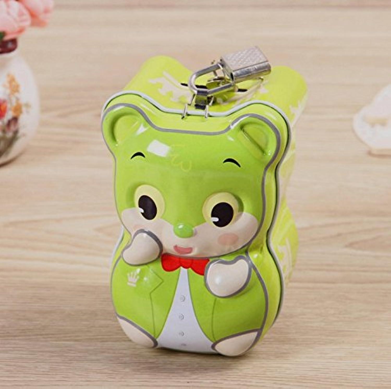 マネー バンク 素敵な小さな動物の貯金箱プレミアムティンプレートキャニスター(グリーン)