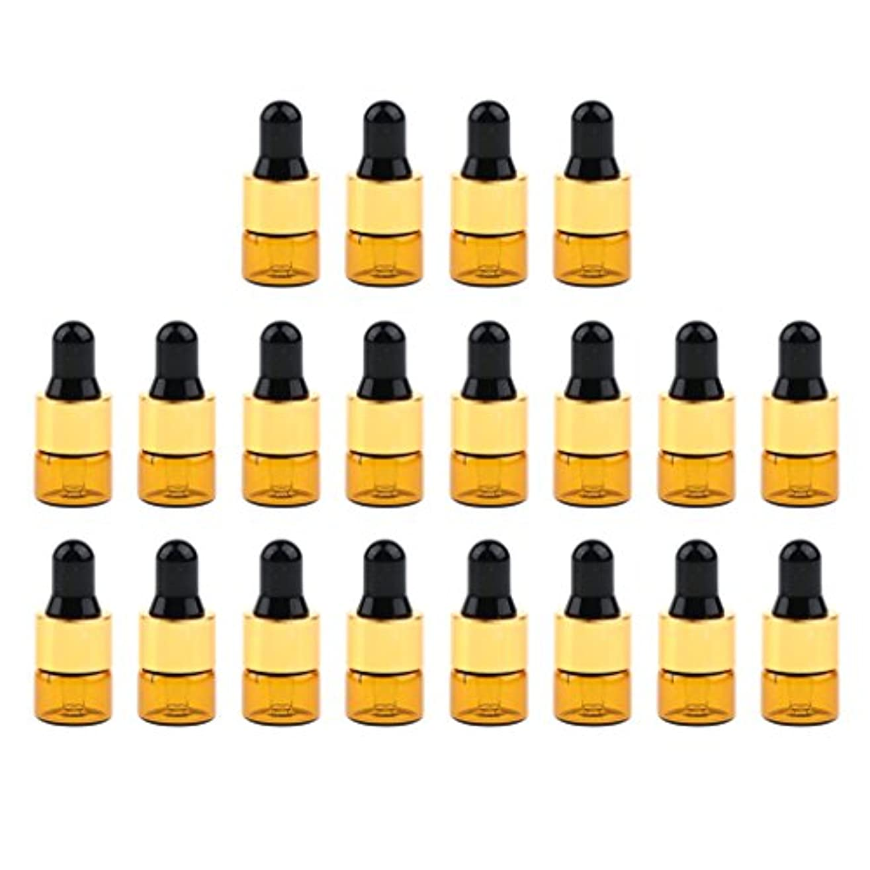支配する静かに謙虚20セットガラス1ml 2ml 3mlエッセンシャルオイル香水用オリフィスリデューサースポイト付き詰め替え可能空Emptyボトル - 1ミリリットル