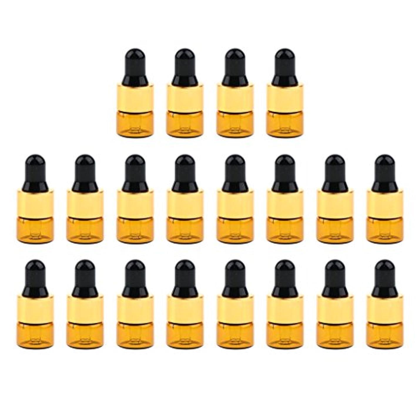 すべき活気づけるサルベージ20セットガラス1ml 2ml 3mlエッセンシャルオイル香水用オリフィスリデューサースポイト付き詰め替え可能空Emptyボトル - 1ミリリットル