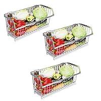 キッチンシェルフ壁掛けスパイスラックステンレス鋼3層果物と野菜のバスケット