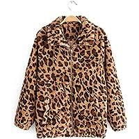 Surprise S Warm Short Jackets for Ladies Leopard Vintage Coats Girls Faux Lambswool Animal Print Fleece Outerwear
