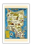 """オアフ島、ハワイ""""MEM-O-マップ"""" - 第二次世界大戦軍事記念碑マップ - ビンテージイラストマップ によって作成された ジョン・G・ドルリー c.1946 - プレミアム290gsmジークレーアートプリント - 61cm x 91cm"""