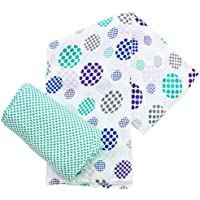 Plum Collections Pattern Cotton Muslin Squares Swaddle Wraps Spots Design (X-Large) by Plum Collection
