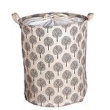 収納ボックス 大容量 綿麻製 折り畳み式 巾着収納ボックス ランドリーバスケット 洗濯物用かご 収納用品 ナチュラルキャンバス 雑貨収納ボックス 桶型 収納袋 (ツリー2)