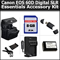 EssentialsのアクセサリーキットCanon EOS 60dデジタルSLRカメラIncludes 8GB高速SDメモリカード+ USB 2.0高速カードリーダー+拡張用交換lp-e6( 2200mAh )バッテリー( info-chip 。 )+ AC / DC急速旅行充電器+デラックスケース+ More