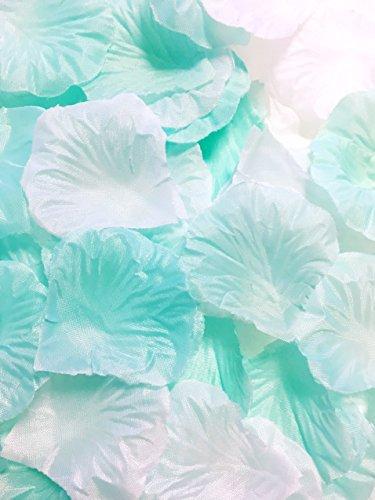 Active Island フラワー シャワー 1000枚以上 造花 カラフル 花びら 結婚式 パーティー 二次会 お祝い (1000枚以上, ミントグリーン×ホワイト)